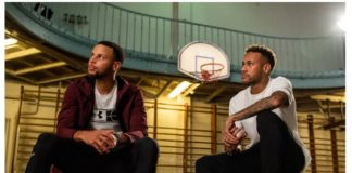 Neymar e Stephen Curry se encontram na quadra de basquete mais antiga do mundo